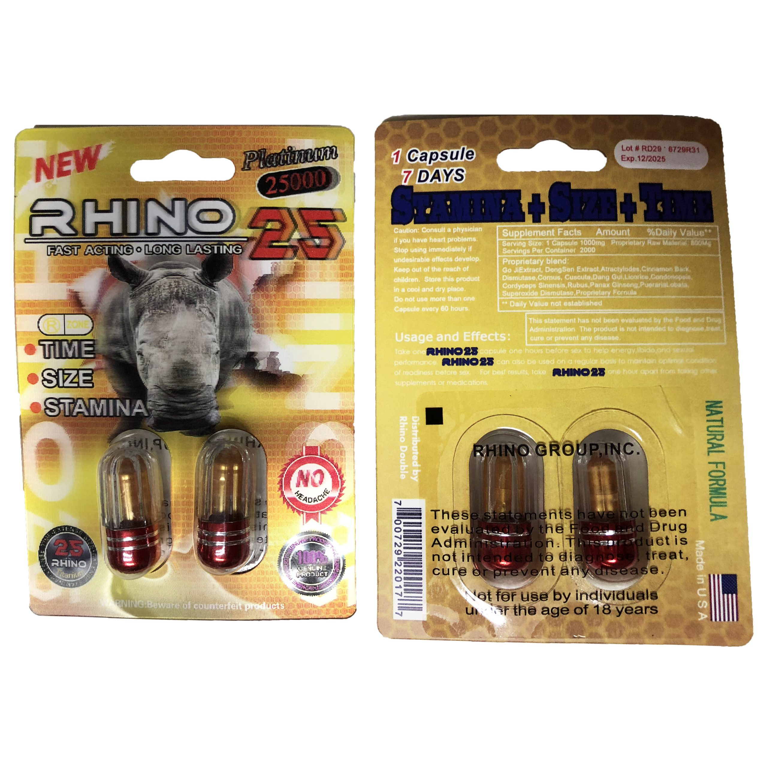Rhino 25 25000 6 Pill Pack